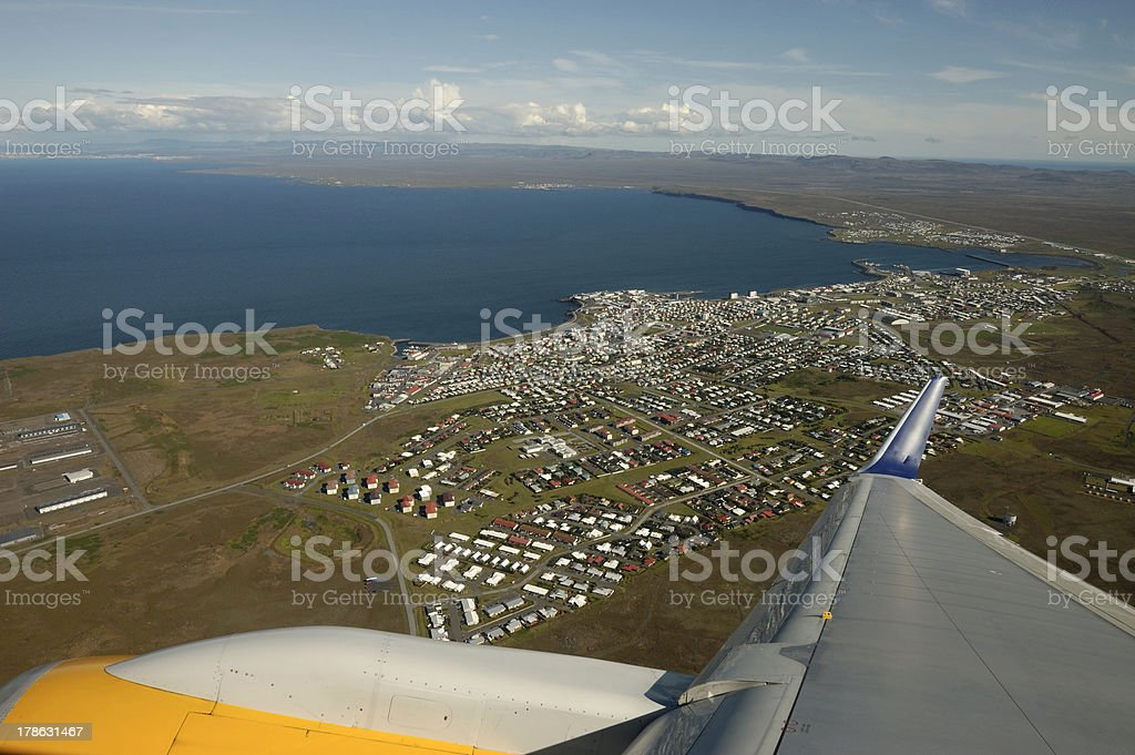Take off from Keflavik airport, Iceland. stock photo
