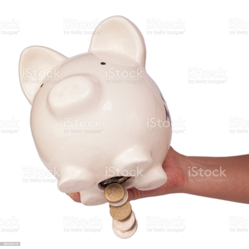 Tira o dinheiro do banco piggy - Foto de stock de Branco royalty-free