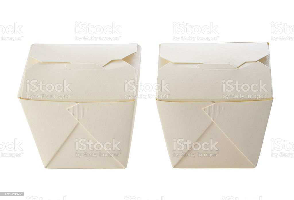 Take Out Boxes Isolated on White royalty-free stock photo