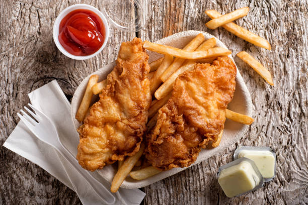 Take Out Fish and Chips stock photo