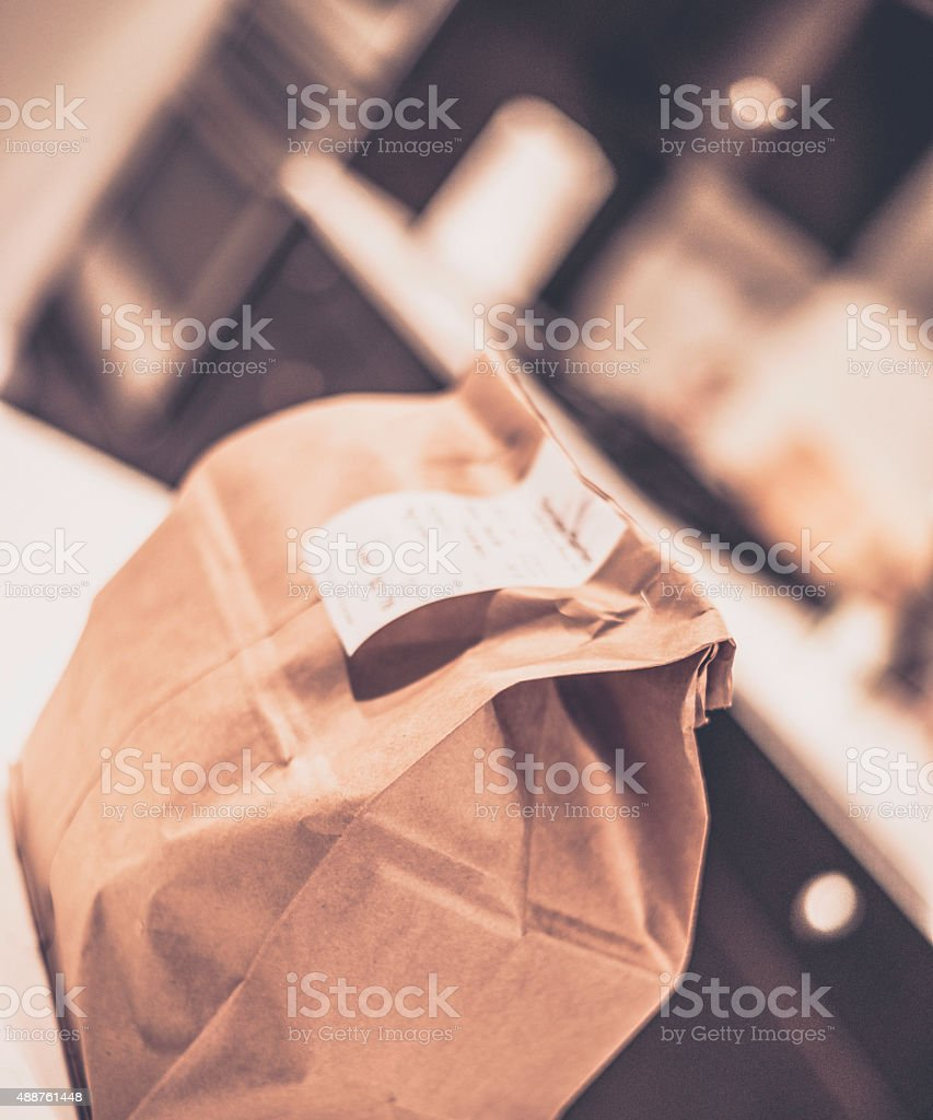 Take out food on kitchen counter stock photo