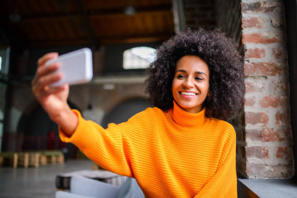 Take selfie stock photo