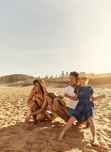 Shot of a young family sitting on the beachimage806237.jpg