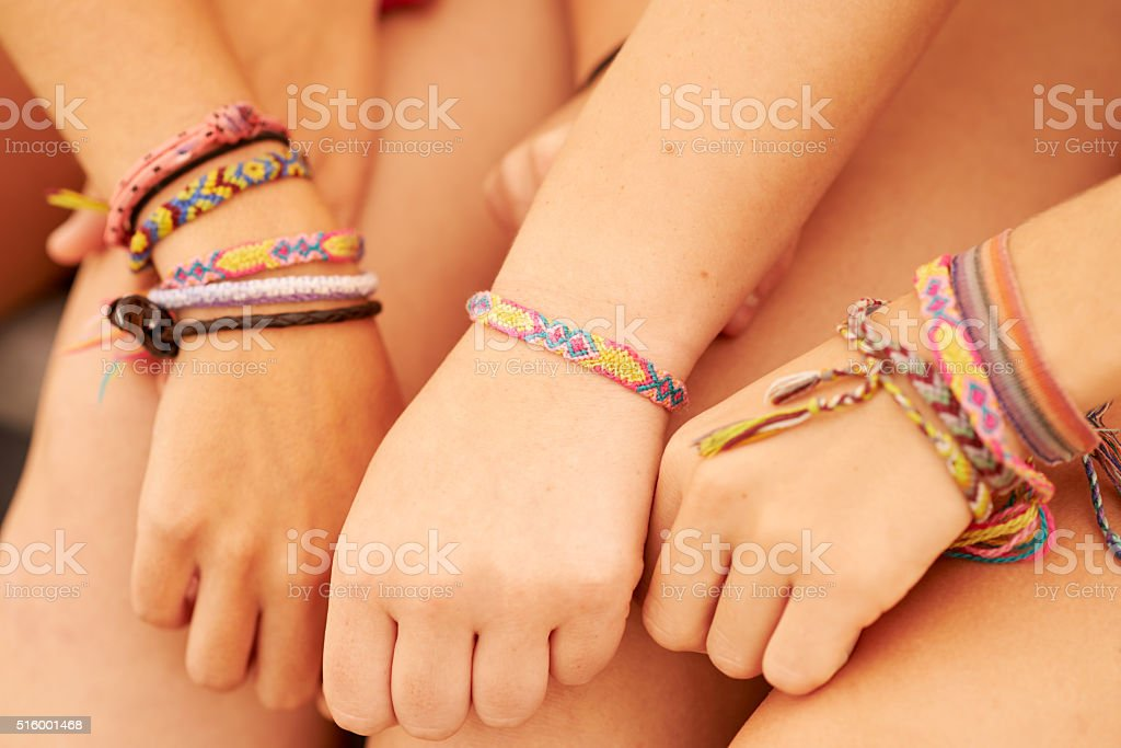 Take your friendship to the next level with friendship bracelets stock photo