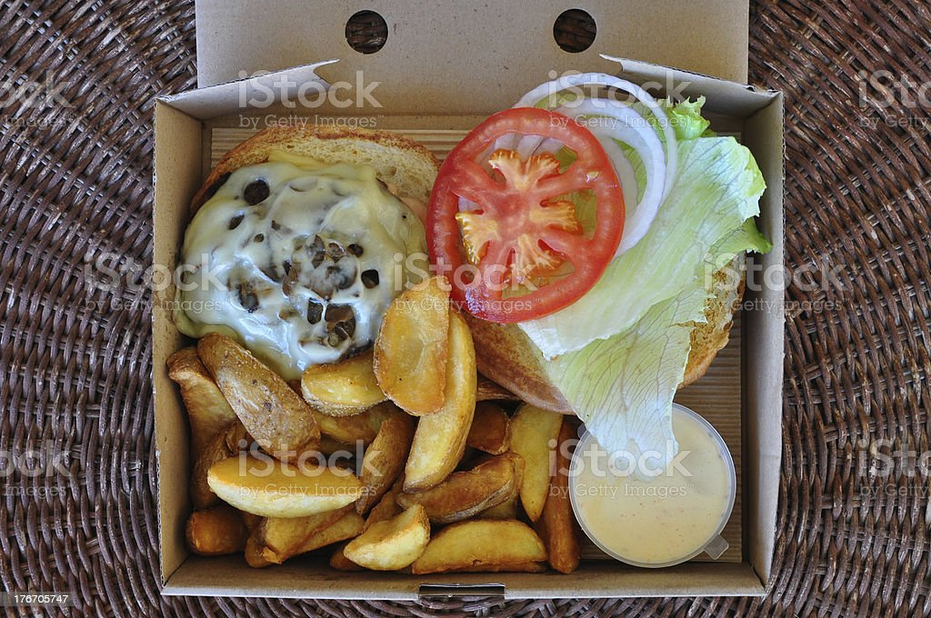 takeaway burger with fries royalty-free stock photo