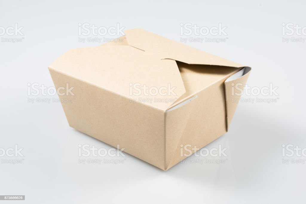 Takeaway Cake Box Mock Up Template Ready For Your Design Stock Photo