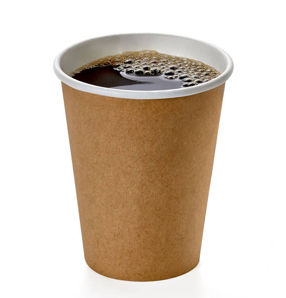 takeaway coffee cup with clipping path - café solúvel imagens e fotografias de stock