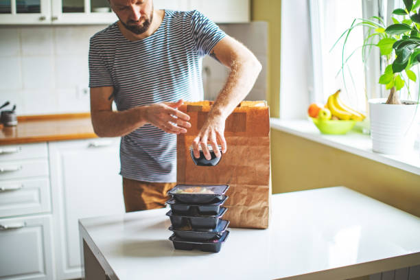 Takeaway meals at home during quarantine stock photo