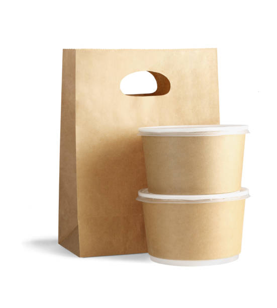 Takeaway Paper Bag and Containers Takeaway Paper Bag and Containers on White Background junk food stock pictures, royalty-free photos & images