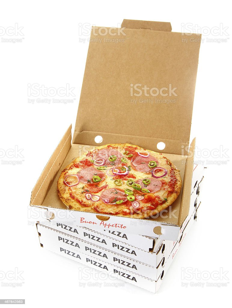Takeaway salami or pepperoni pizza in a box stock photo