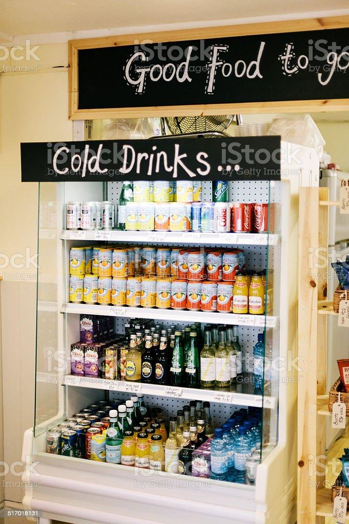 Take-away sandwich bar drinks stock photo
