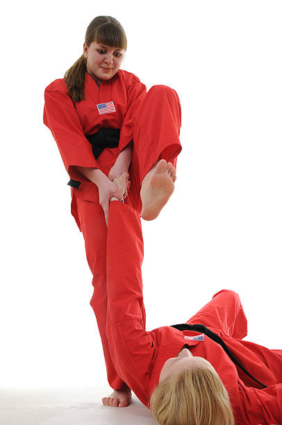 takedown and finish - karate stock photos and pictures