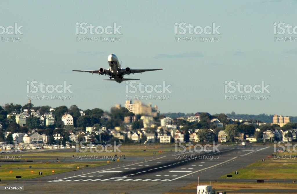 Take-off and runway, Boston stock photo