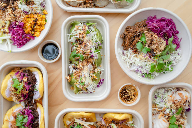 Takeout Asian Fusion Food. stock photo