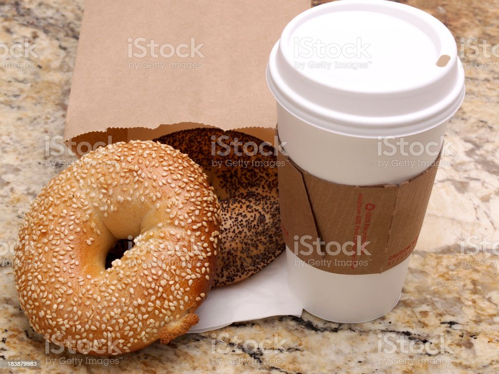 Take-out bagels and coffee stock photo