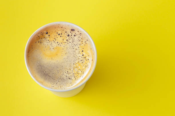Take-out coffee Americano in opened thermo cup stock photo