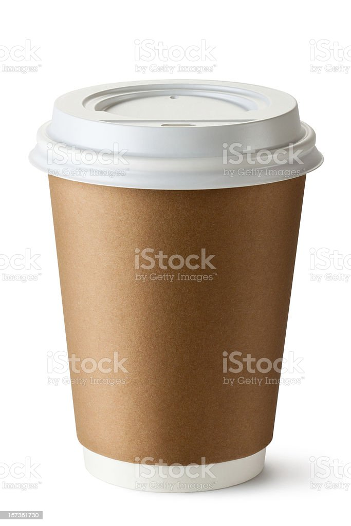 Takeout coffee in a thermo cup on white background royalty-free stock photo