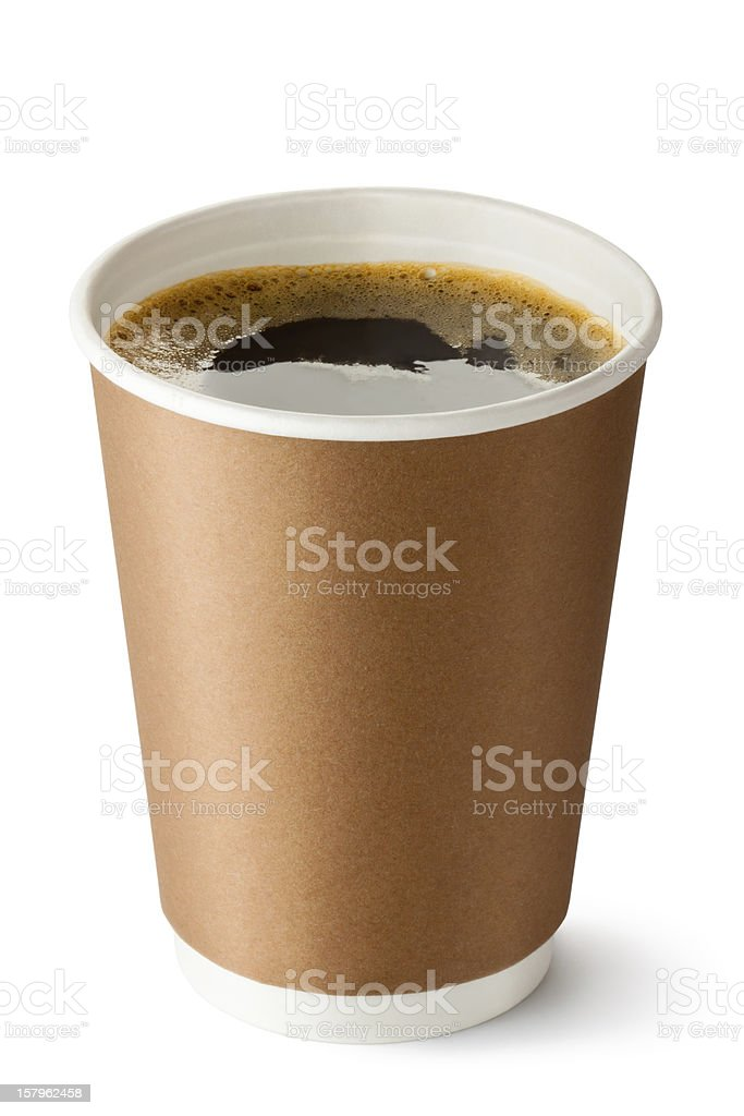 Take-out coffee in opened thermo cup stock photo