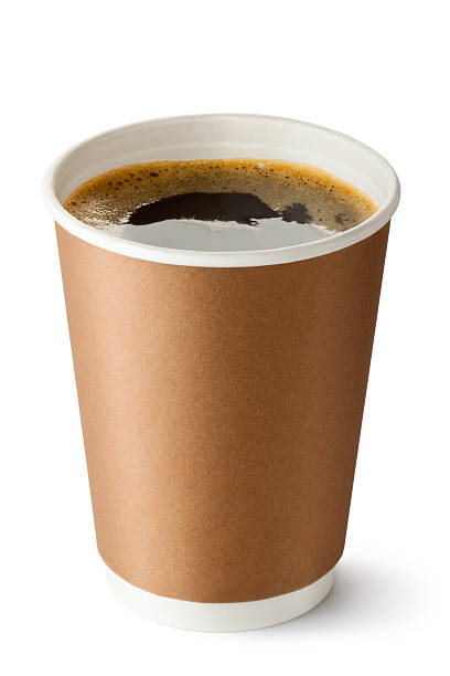 take-out coffee in opened thermo cup - paper coffee cup stock photos and pictures