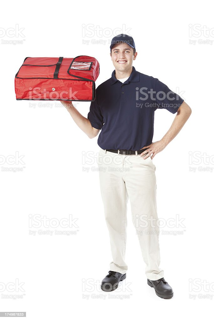 Take-out Fast Food Pizza Delivery Man with Package on White royalty-free stock photo