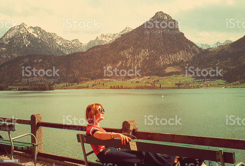 Taking a break at the Alps stock photo