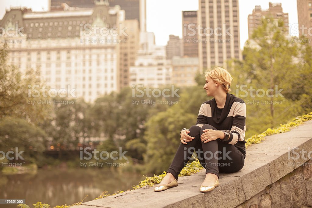Taking a break from the city in Central Park royalty-free stock photo