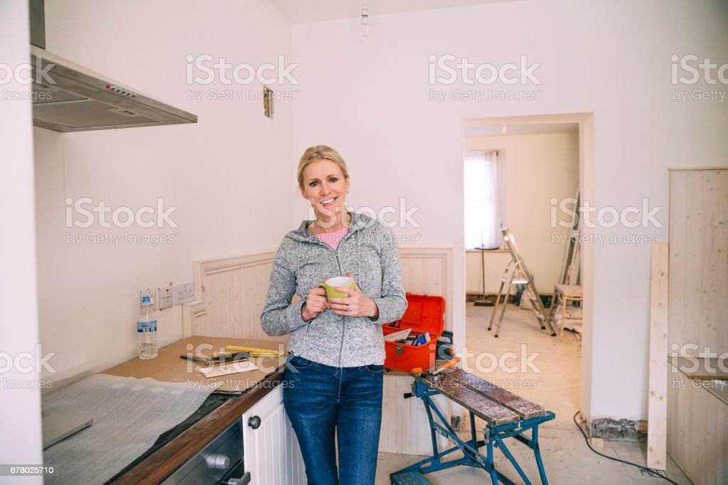 Taking a break from the Renovating stock photo