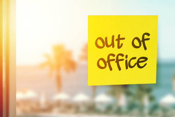 Taking a break from work Out of office concept stock photo