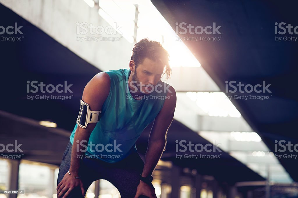 taking a break from workout stock photo