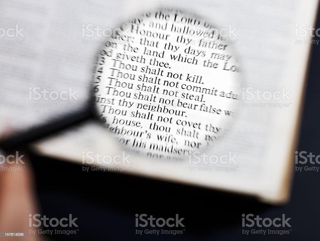 Taking a close look at the Ten Commandments stock photo