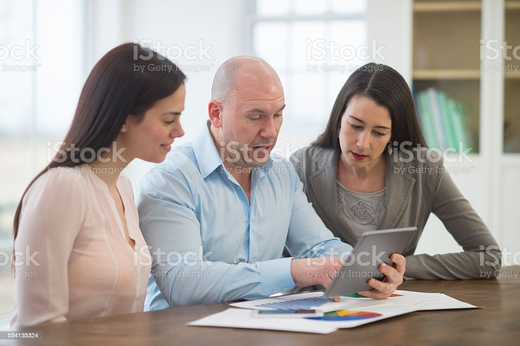 Taking a Conference Call stock photo