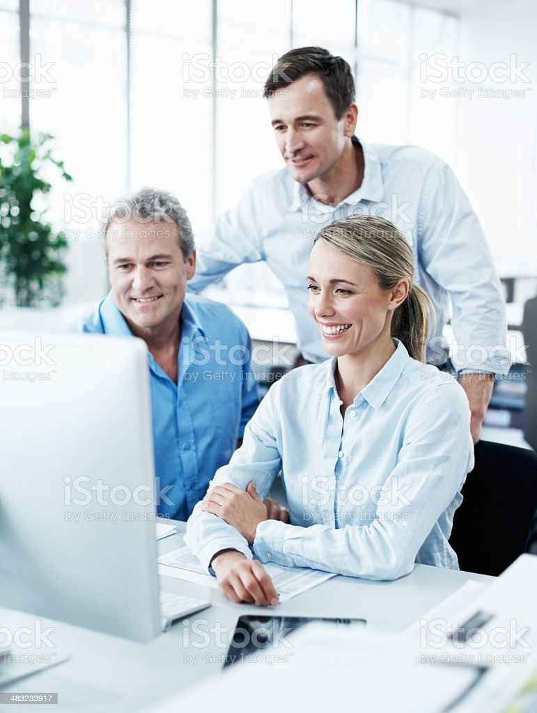 Taking a last look at their presentation royalty-free stock photo