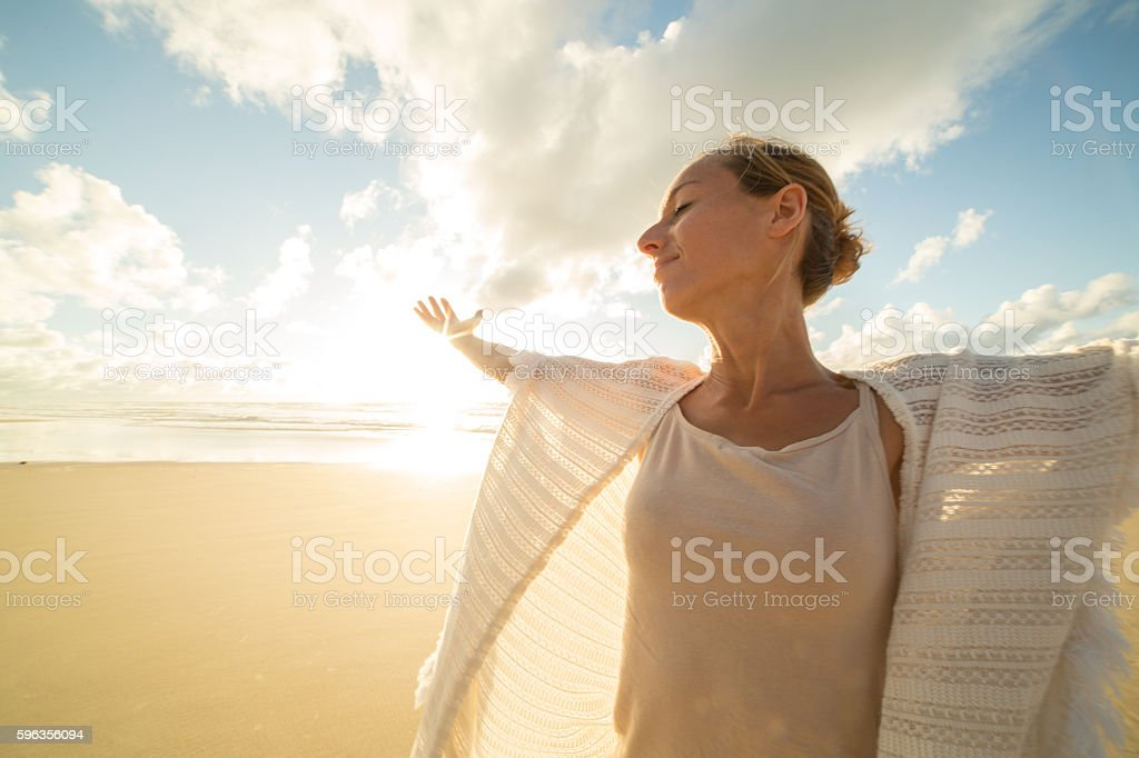 Taking a moment to breathe it all in royalty-free stock photo