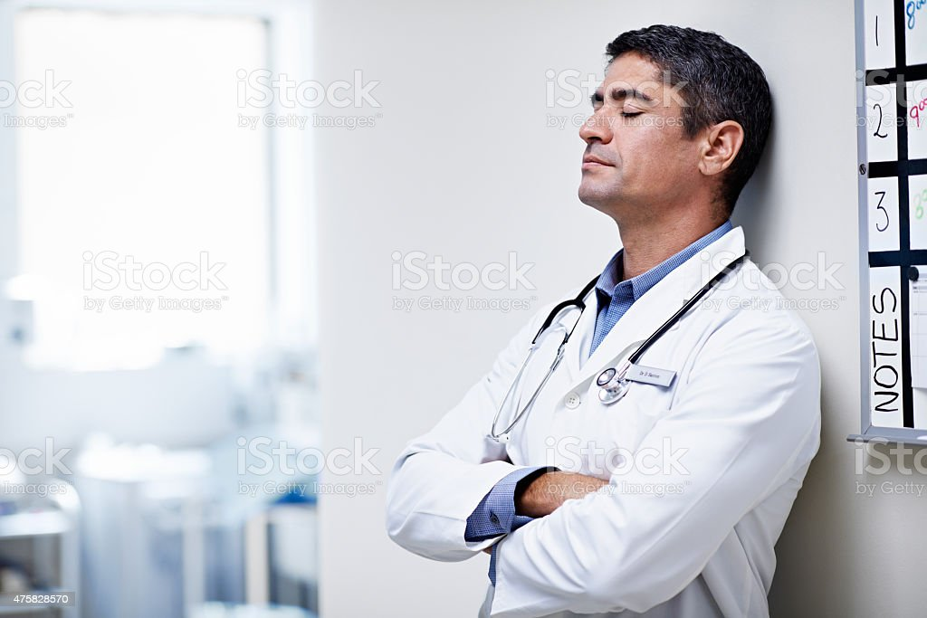 Taking a moment to himself stock photo