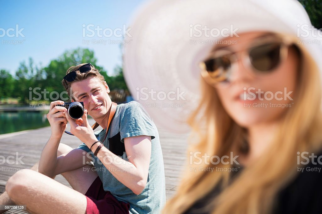 Taking a photo of beautiful girl Lizenzfreies stock-foto