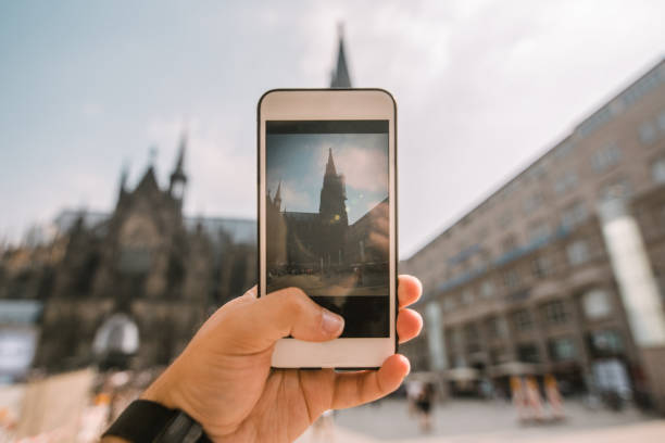 Taking a picture of Cologne Cathedral stock photo