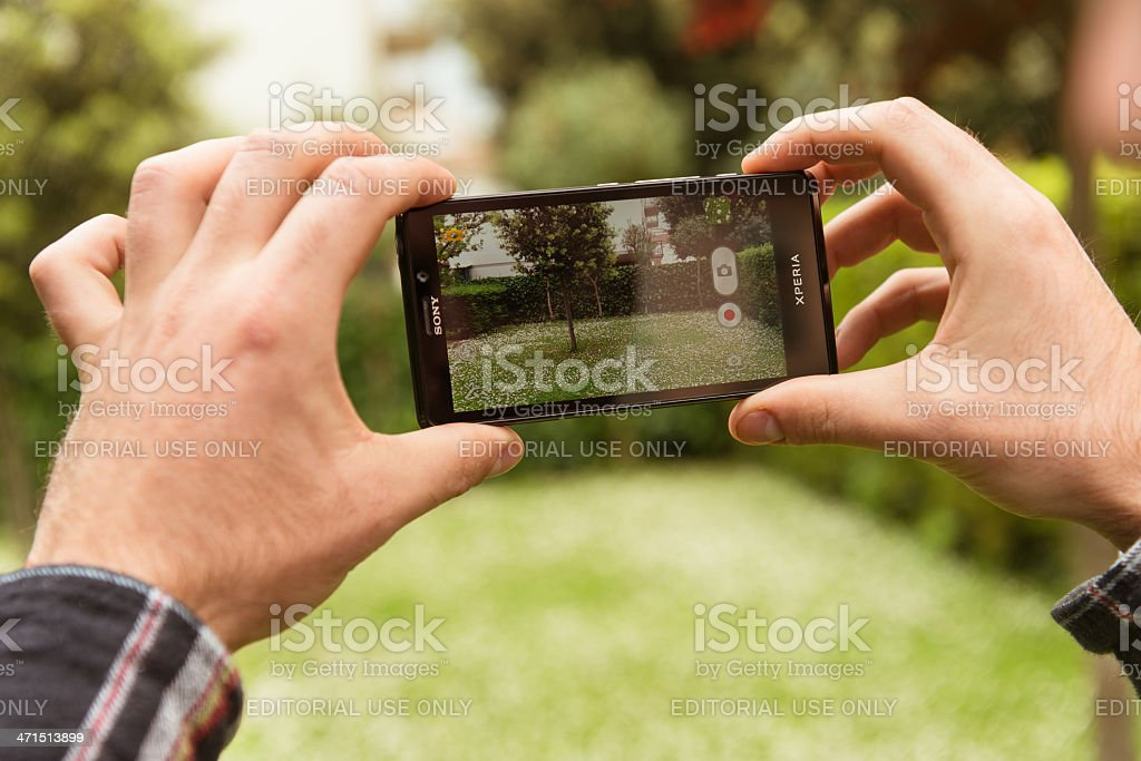 taking a picture with smartphone stock photo