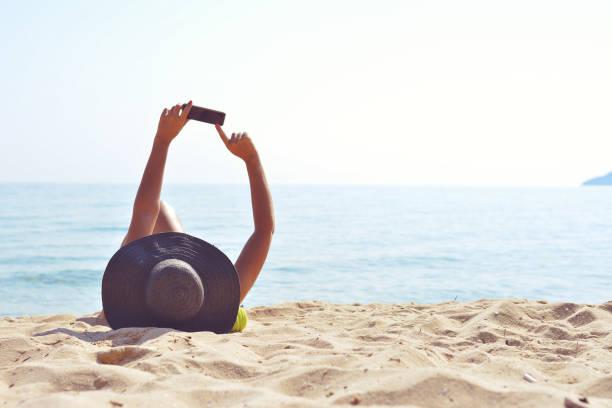 Machen Sie ein selfie am Strand – Foto