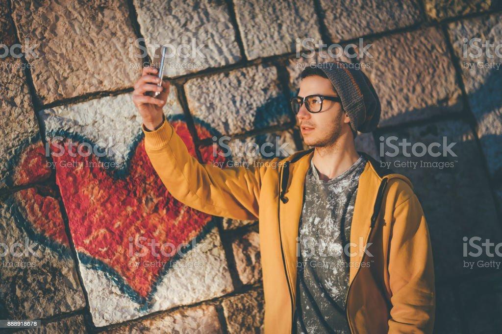 Taking a selfie stock photo