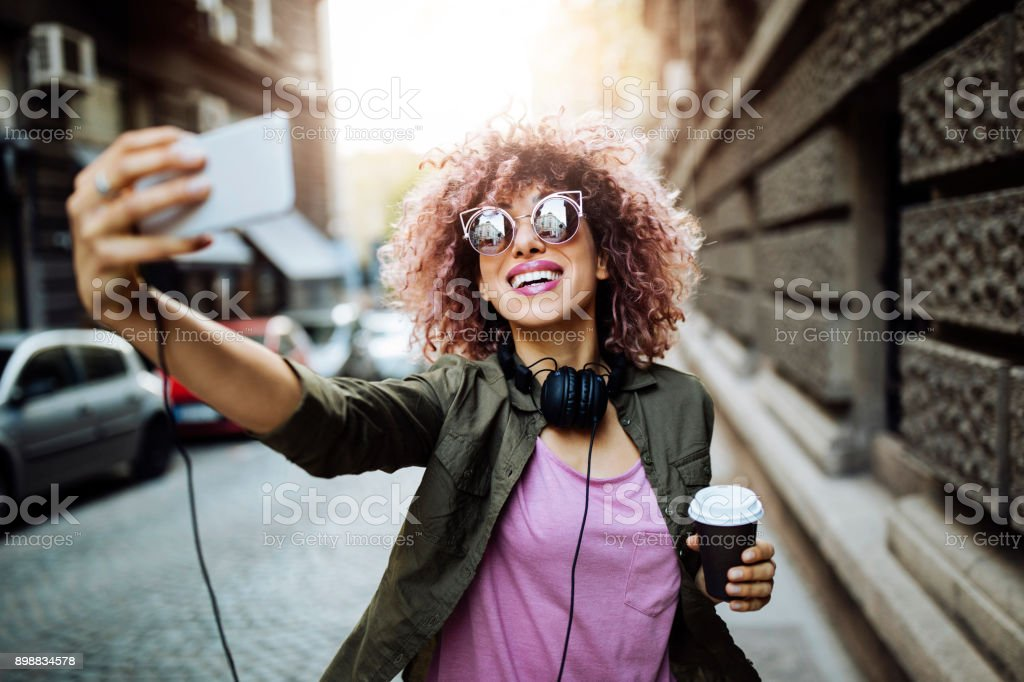 Taking a selfie stock photo