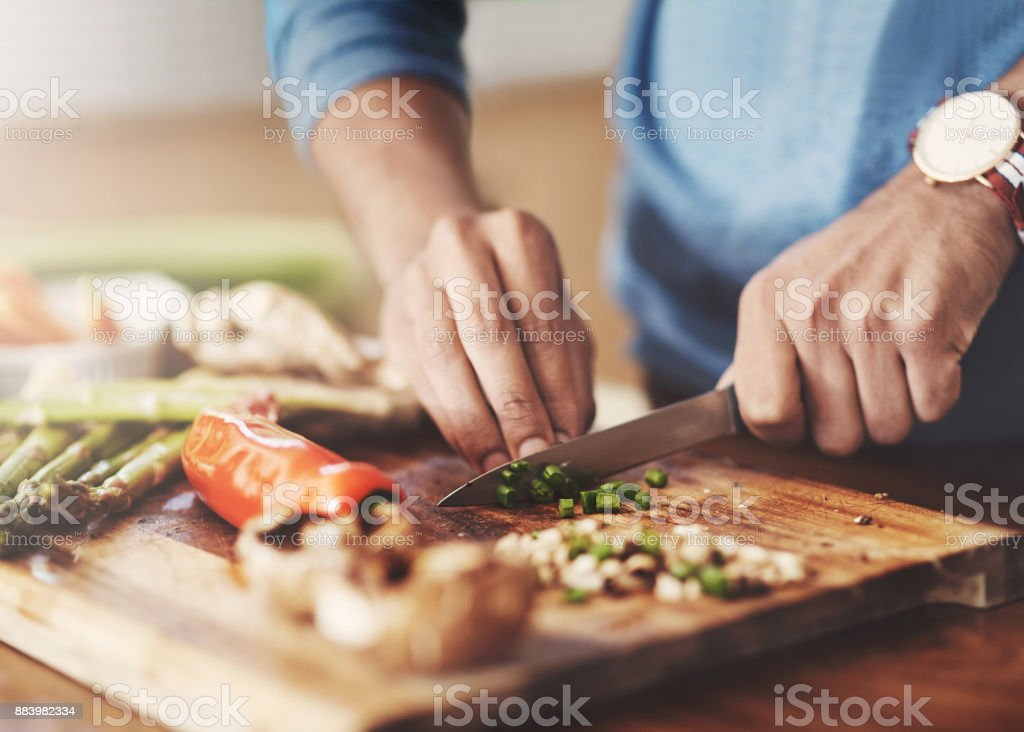 Taking a slice out of the healthy life stock photo