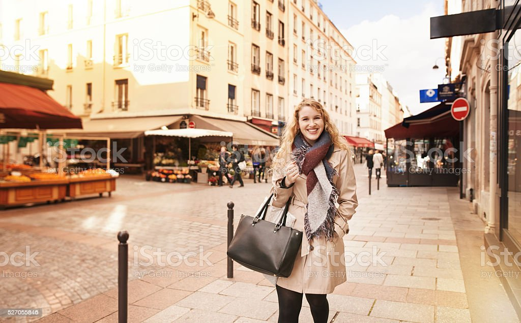 Taking a walk through the city stock photo