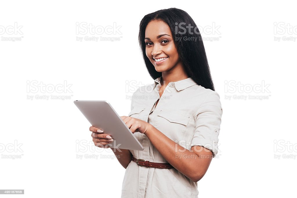 Taking advantages of digital age. stock photo