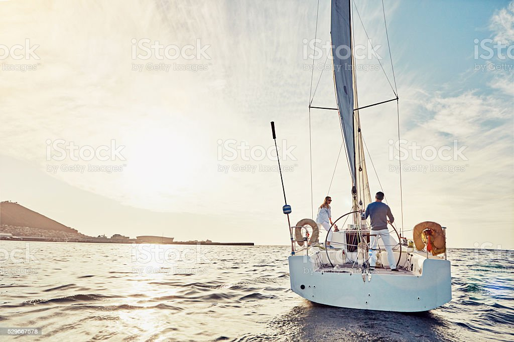 Taking an adventurous boat cruise stock photo