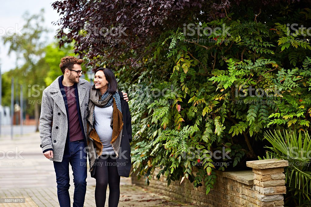 Taking baby to be for a walk stock photo