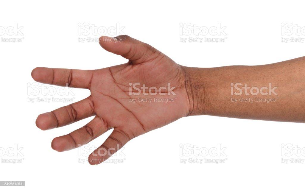 Taking black hand isolated on white background stock photo