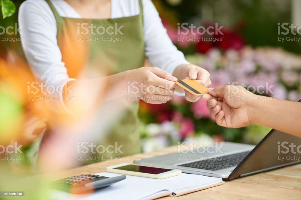 Taking card stock photo