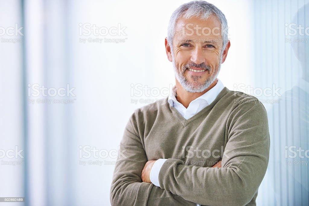 Taking care of business with a smile stock photo