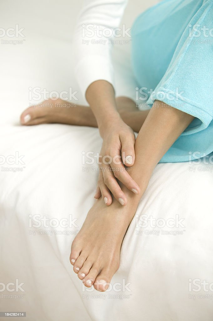 Taking Care of My Feet stock photo