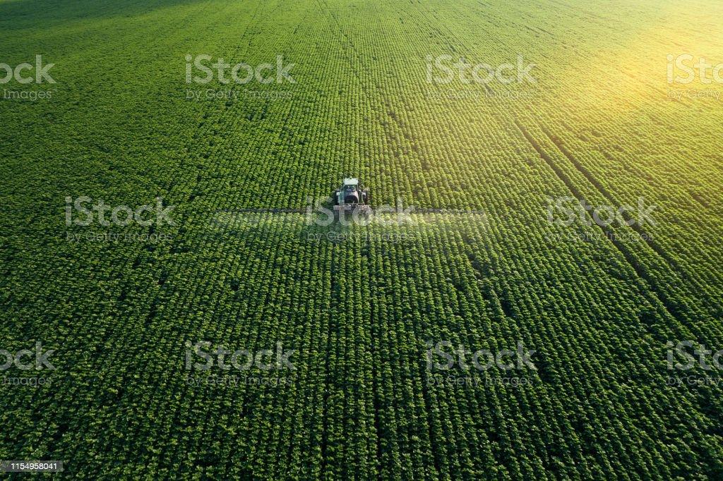 Crop 'a bakıyorum. Bir traktörün havadan görünümü, yetiştirilmiş bir tarım alanını gübreleme. - Royalty-free Bitki Stok görsel